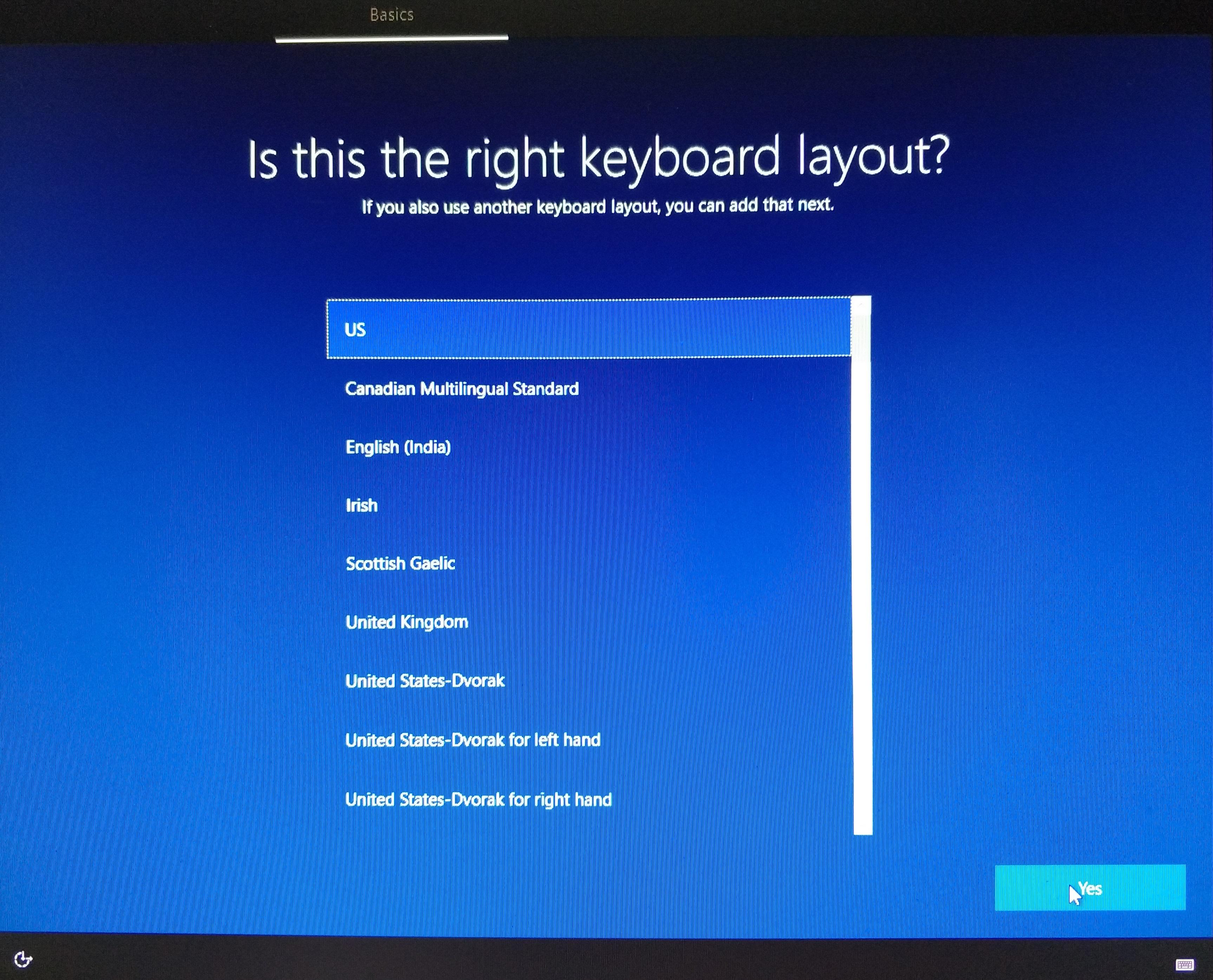 Первое окно второго этапа установки Windows