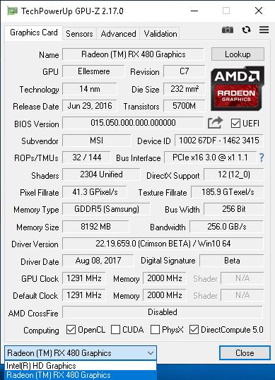 Выбор видеокарты в GPU-Z