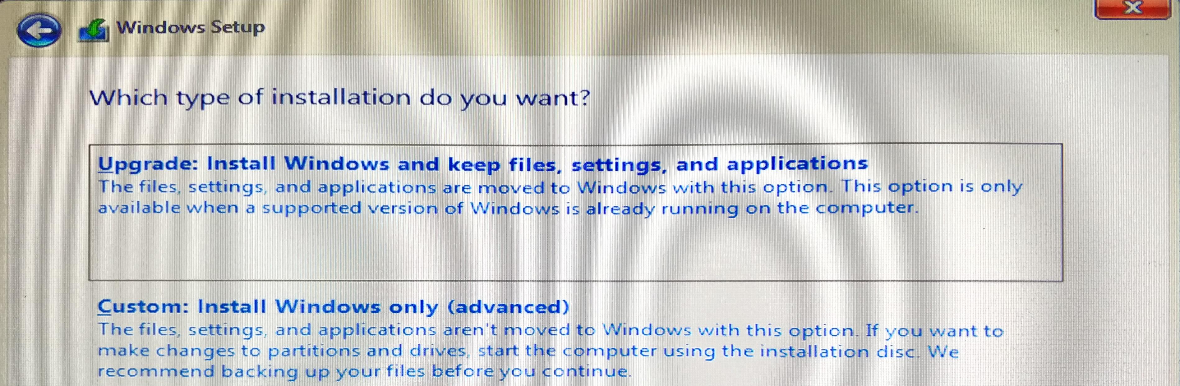 Четвертое окно этапа установки Windows