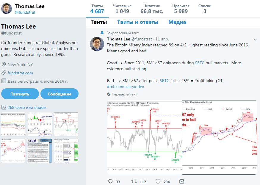 Твит Thomas Lee о Bitcoin